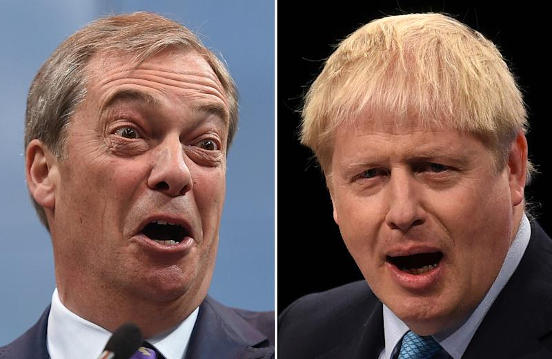 A combination of pictures created in London on November 1, 2019 shows Britain's Prime Minister and Conservative Party leader Boris Johnson (R) and Brexit Party leader Nigel Farage (L) giving speeches. - Britain will go to the polls on December 12, 2019 to vote in a pre-Christmas general election. (Photo by Oli SCARFF and Ben STANSALL / AFP) (Photo by OLI SCARFF,BEN STANSALL/AFP via Getty Images)