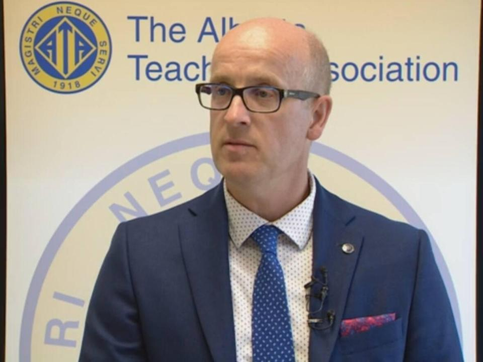 Alberta Teachers Association president Jason Schilling, shown here, says contact tracing is an extra, time-consumingtask for school staff to juggle during the pandemic. (Trevor Wilson/CBC - image credit)
