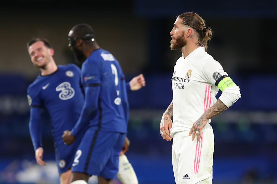 A dejected Sergio Ramos of Real Madrid as his team loses 2-0 during the UEFA Champions League Semi Final Second Leg match between Chelsea and Real Madrid at Stamford Bridge.