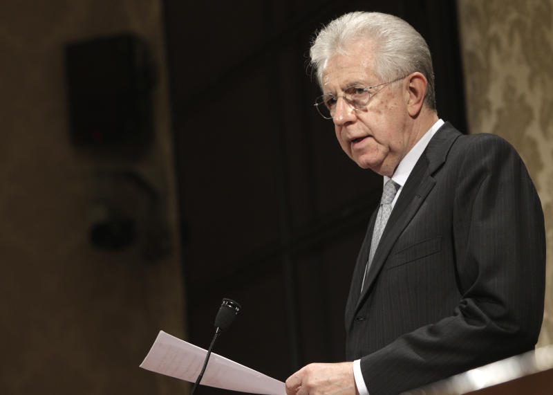 Italian Premier Mario Monti speaks during a press conference at the Italian Senate in Rome, Friday, Dec. 28, 2012. Monti has announced he is heading a new campaign coalition made of up centrists, businessmen and pro-Vatican forces, paving the way for his possible return to office if it wins enough seats in February parliamentary elections. (AP Photo/Riccardo De Luca)