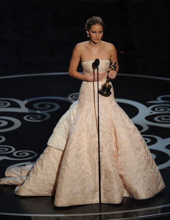 """Best Actress winner Jennifer Lawrence addresses the audience at the 85th Annual Academy Awards on February 24, 2013 in Hollywood, California. Lawrence was crowned best actress for """"Silver Linings Playbook."""""""