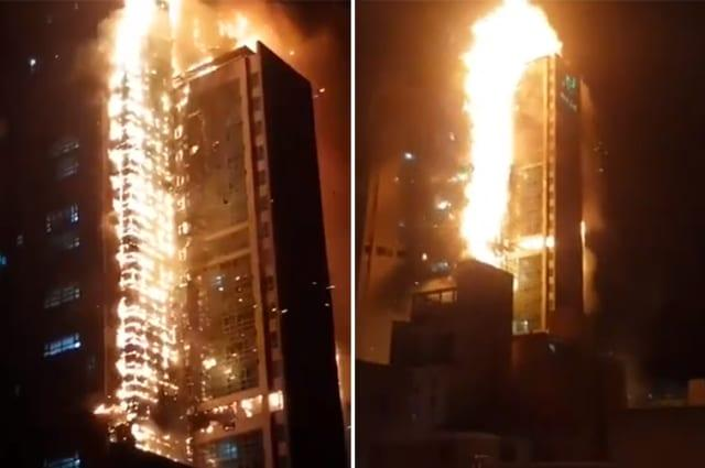 Apartment building fire in South Korea