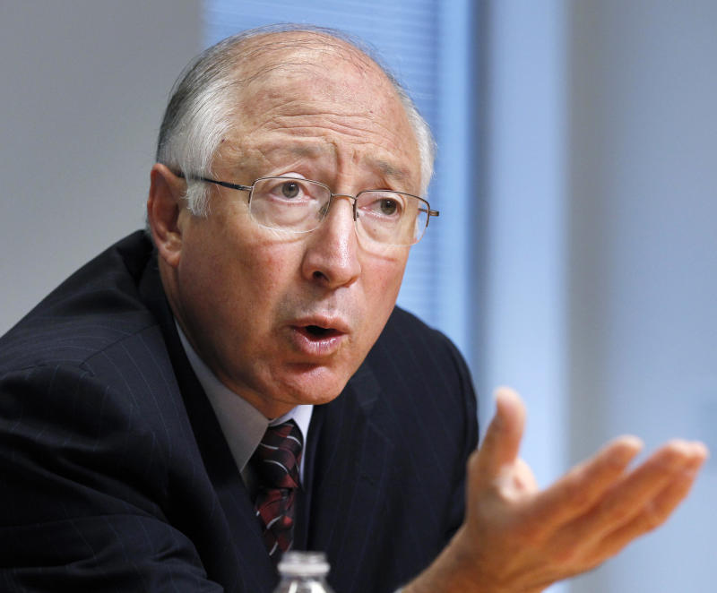 Interior Secretary Ken Salazar gestures during an interview with The Associated Press, Wednesday Sept. 21, 2011, in Washington.    (AP Photo Manuel Balce Ceneta)