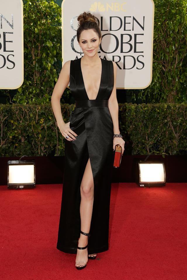 Former American Idol winner Katharine McPhee made a bold statement at the Golden Globe red carpet in this Theyskens' Theory dress.