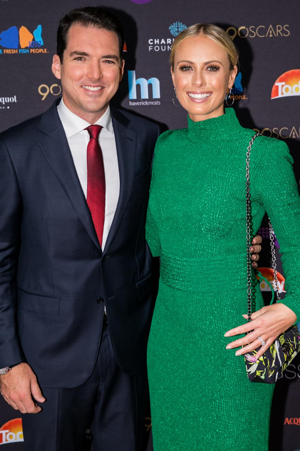 A photo of Sylvia Jeffreys and Peter Stefanovic at the Channel 9 Charity Oscars lunch raising money for the Charlie Teo Foundation at Glass Restaurant, The Hilton, on March 5, 2018 in Sydney, Australia.