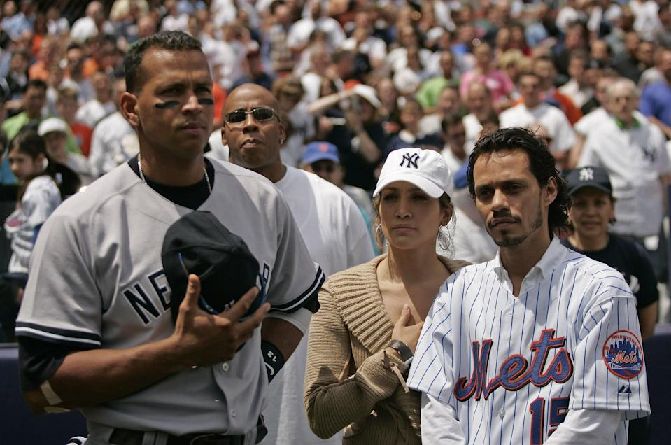 """<p>Lopez attended the Yankees-Mets game with her then-husband, <a class=""""link rapid-noclick-resp"""" href=""""https://www.popsugar.co.uk/Marc-Anthony"""" rel=""""nofollow noopener"""" target=""""_blank"""" data-ylk=""""slk:Marc Anthony"""">Marc Anthony</a>, and the celeb couple met several of the players before the game, including Rodriguez, then the star third baseman for the Yankees. </p> <p>""""<a href=""""http://www.si.com/mlb/2019/06/25/alex-rodriguez-jennifer-lopez"""" class=""""link rapid-noclick-resp"""" rel=""""nofollow noopener"""" target=""""_blank"""" data-ylk=""""slk:We shook hands"""">We shook hands</a>, and it was this weird electricity for, like, three seconds,"""" Lopez told <strong>Sports Illustrated</strong>. """"Three to five seconds of looking at somebody right in their eyes, and getting stuck.""""</p>"""