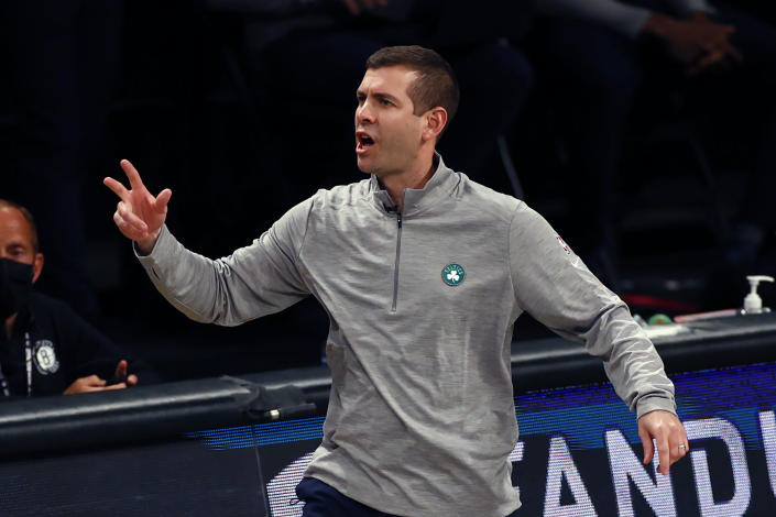Boston Celtics head coach Brad Stevens directs his team against the Brooklyn Nets in the first half of Game 5 during an NBA basketball first-round playoff series, Tuesday, June 1, 2021, in New York. (AP Photo/Adam Hunger)