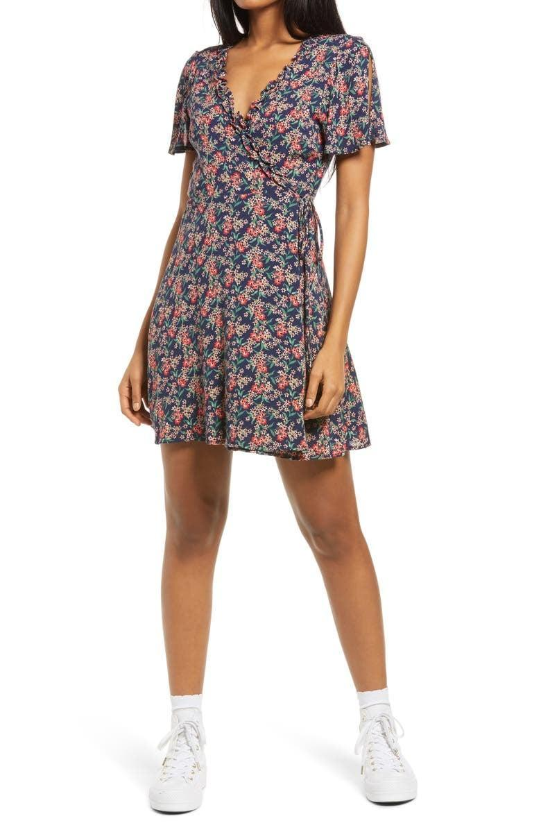 <p>This <span>Lulus Audacious Audrey Floral Wrap Dress</span> ($52) is incredibly flattering.</p>