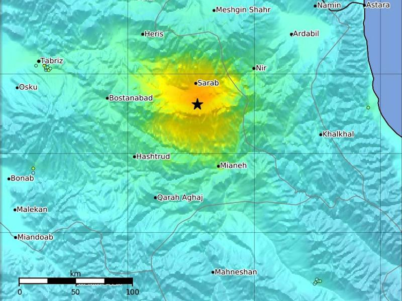 A graphic made available by the USGS showing the impact and epicentre (starred) of a magnitude-5.9 earthquake in northwestern Iran: EPA