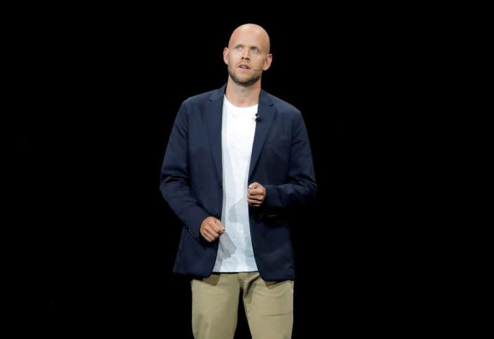 FILE PHOTO: FILE PHOTO: Daniel Ek, CEO of Spotify speaks at a Samsung product launch event in Brooklyn