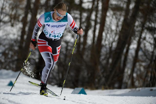 Carina Edlinger of Austria competes during the Cross Country Skiing Women's Visually Impaired 7,5km Classic at the Alpensia Biathlon Centre. The Paralympic Winter Games, PyeongChang, South Korea, Saturday 17th March 2018. OIS/IOC/Thomas Lovelock/Handout via Reuters
