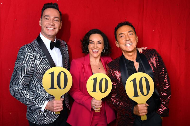 BIRMINGHAM, ENGLAND - JANUARY 16: Craig Revel Horwood, Shirley Ballas and Bruno Tonioli during the opening night of the Strictly Come Dancing Arena Tour 2020 at Arena Birmingham on January 16, 2020 in Birmingham, England. (Photo by Dave J Hogan/Getty Images)