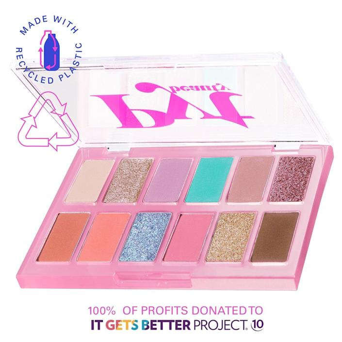 <p>Throughout June, PYT Beauty is donating 100% of profits from the <span>The Upcycle Eyeshadow Palette in Party in the Nude</span> ($28) sold through the site to The It Gets Better Project whose mission is to uplift, empower, and connect lesbian, gay, bisexual, transgender, and queer (LGBTQ+) youth around the globe. </p>