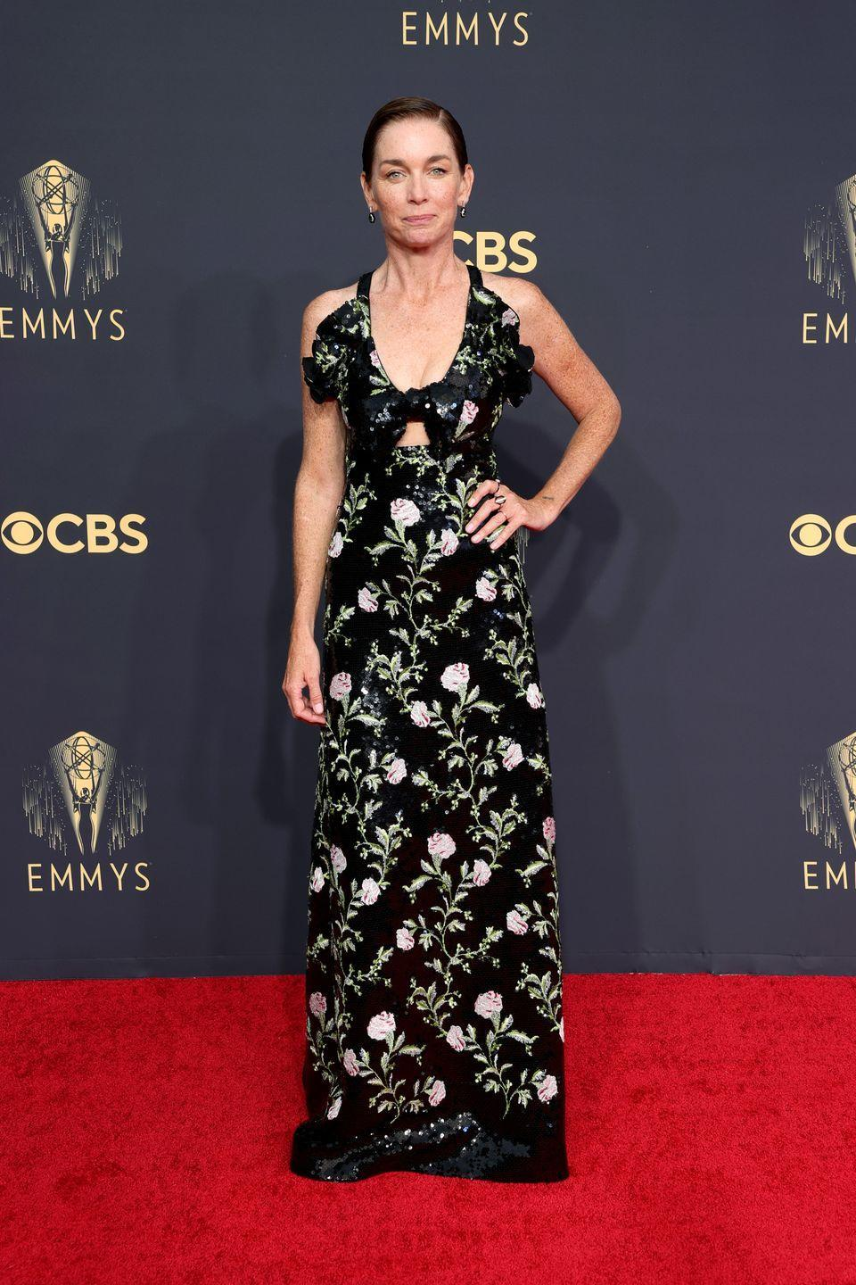 <p><strong>What:</strong> Giambattista Valli and Nikos Koulis jewelry</p><p><strong>Why: </strong>Nicholson's winning role in the Mare of Easttown was far from glamorous, but this look showed her glamorous, edgy, and romantic sides, complete with an all-embroidered sheen, a chinoiserie floral print, a ruffled neckline, and a cutout at the waist.</p>