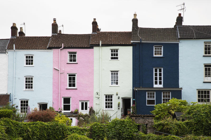 Row of Georgian Terraced Houses In Chepstow, Wales