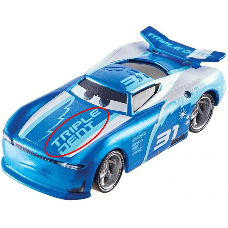 """<p>In <em>Cars 3</em>, Lightning McQueen goes up against some new racers, including No. 31: Cam Spinner. Spinner has a famous sponsor, Triple Dent Gum — the gum with a<a href=""""https://www.youtube.com/watch?v=SRoP4AN-cN4"""" rel=""""nofollow noopener"""" target=""""_blank"""" data-ylk=""""slk:jingle so catchy"""" class=""""link rapid-noclick-resp""""> jingle so catchy</a>, no one can stop singing it in <em>Inside Out</em>. (You can even see the gum logo on the <a href=""""https://www.walmart.com/ip/Disney-Pixar-Cars-Die-Cast-Cam-Spinner/830334448"""" rel=""""nofollow noopener"""" target=""""_blank"""" data-ylk=""""slk:toy version of Cam Spinner"""" class=""""link rapid-noclick-resp"""">toy version of Cam Spinner</a>.) If you ever wondered if cars can chew gum, apparently they can!<br></p>"""