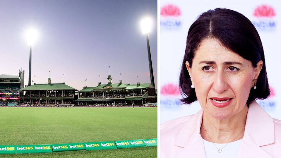 NSW Premier Gladys Berejiklian (pictured right) speaking at a press conference and cricket at the the SCG (pictured left).