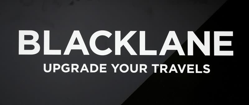 The logo of German chauffeur service Blacklane is pictured in Berlin