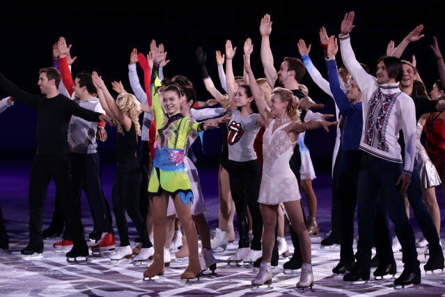 Skaters, including Adelina Sotnikova of Russia, centre, perform during the figure skating exhibition gala finale at the Iceberg Skating Palace during the 2014 Winter Olympics, Saturday, Feb. 22, 2014, in Sochi, Russia. (AP Photo/Bernat Armangue)
