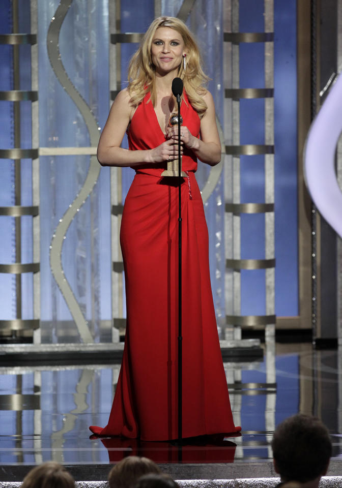 "Winner, Claire Danes, Best Actress - TV Series, Drama, ""Homeland"" on stage during the 70th Annual Golden Globe Awards held at the Beverly Hilton Hotel on January 13, 2013 -- (Photo By: Paul Drinkwater/NBC)"