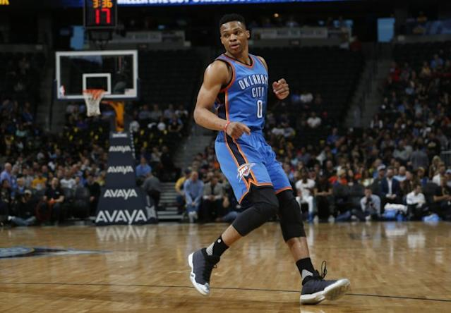"""<a class=""""link rapid-noclick-resp"""" href=""""/nba/players/4390/"""" data-ylk=""""slk:Russell Westbrook"""">Russell Westbrook</a> will have some decisions to make. (AP)"""