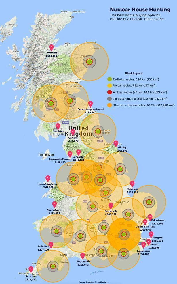 Mapped: the safe places to buy property if you fear nuclear war (www.emoov.co.uk)