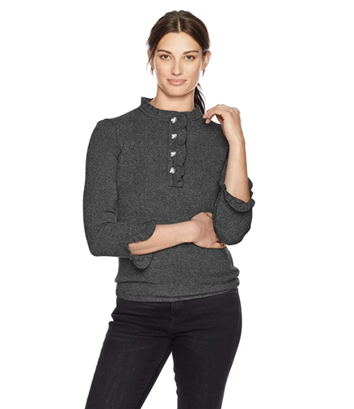 Lark & Ro Women's Sweaters Ruffle Cashmere Sweater (Photo: Amazon)
