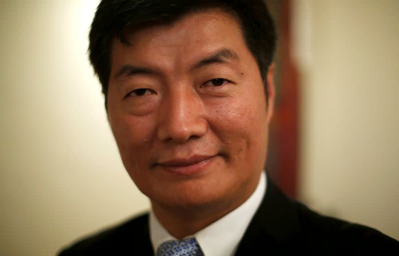 FILE PHOTO: Lobsang Sangay, PM of the Tibetan government-in-exile, poses for a picture after an interview with Reuters in New Delhi