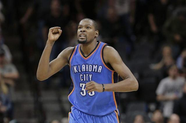 Kevin Durant will likely be a free agent again next season. (AP)