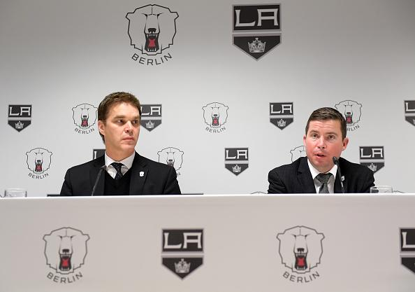 BERLIN, GERMANY - FEBRUARY 20: President of Business Operations of the LA Kings Luc Robitaille and Chief Operating Officer of the LA Kings and AEG Sports Kelly Cheeseman during the press conference on february 20, 2017 in Berlin, Germany. (Photo by Florian Pohl/City-Press via Getty Images)