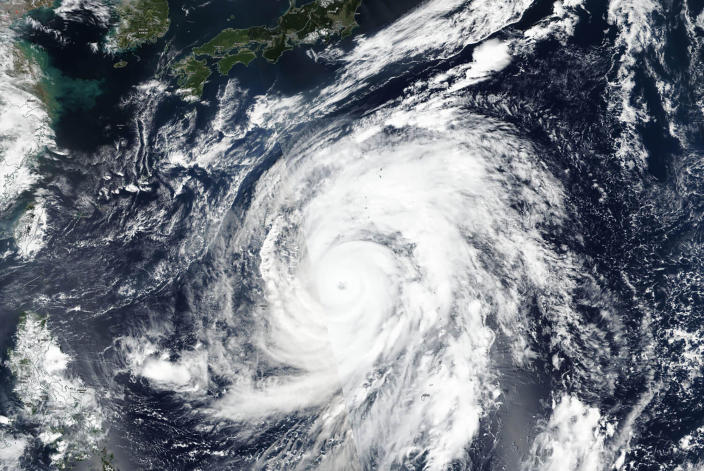 Typhoon Hagibis had winds gusting up to 270 kilometers per hour (168 mph) on Thursday morning but is expected to weaken over cooler waters as it nears Japan (Picture: AP)