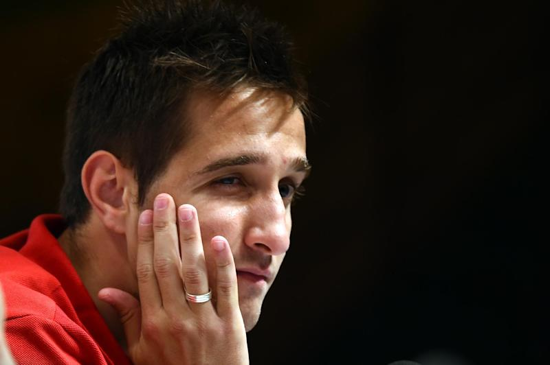 Switzerland's forward Mario Gavranovic gestures at a press conference at the Praia Hotel in Porto Seguro on June 8, 2014