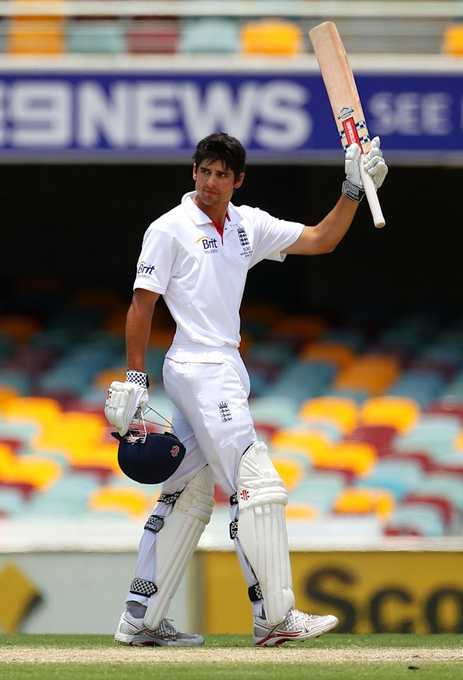 BRISBANE, AUSTRALIA - NOVEMBER 29:  Alastair Cook of England celebrates scoring 200 runs during day five of the First Ashes Test match between Australia and England at The Gabba on November 29, 2010 in Brisbane, Australia.  (Photo by Cameron Spencer/Getty Images)