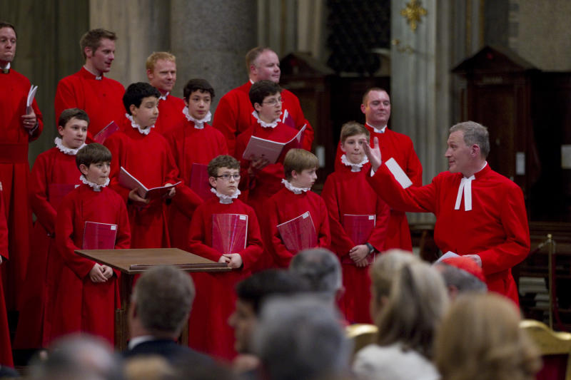 The Choir of the Westminster Abbey, directed by James O'Donnel, right, perform during a concert of Sacred Choral Music, in the St. Mary Major basilica, in Rome, Wednesday, June 27, 2012. The Westminster Abbey Choir, the world-renown chorus which last year performed at the wedding of Prince William and Kate Middleton, will join the Sistine singers at a special papal Mass on Friday in St. Peter's Basilica, a historic event seen as a perfect symbol of Christian harmony _ after centuries of discord. It's the first time in its 500-plus year history that the pope's personal choir will be accompanied by another chorus, let alone one that comes from the breakaway Anglican Church. (AP Photo/Andrew Medichini)