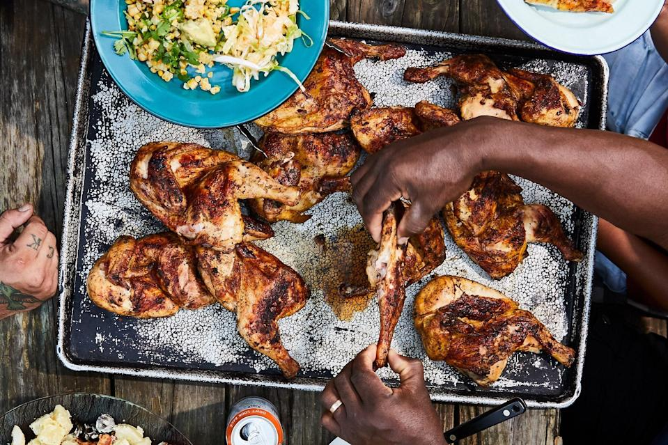 "If you want to go with the same flavors and basic method but prefer chicken pieces, go forth! Use skin-on, bone-in breasts and legs—total cooking time will be shorter. <a href=""https://www.epicurious.com/recipes/food/views/grilled-lemon-pepper-chicken?mbid=synd_yahoo_rss"" rel=""nofollow noopener"" target=""_blank"" data-ylk=""slk:See recipe."" class=""link rapid-noclick-resp"">See recipe.</a>"