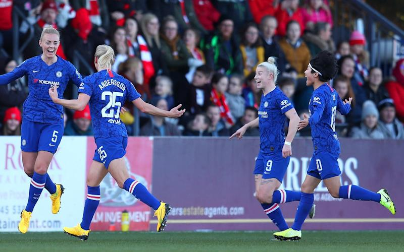 Sophie Ingle of celebrates with Jonna Andersson after scoring her team's third goal - Getty Images Europe