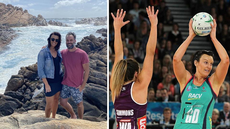 The Block star Bianca Chatfield with her partner Mark Scrivens, Chatfield plays for the Vixens during the ANZ Championship Grand Final match between the Vixens and the Firebirds at Hisense Arena on June 22, 2014 in Melbourne, Australia. Photos: Supplied, Graham Denholm/Getty Images