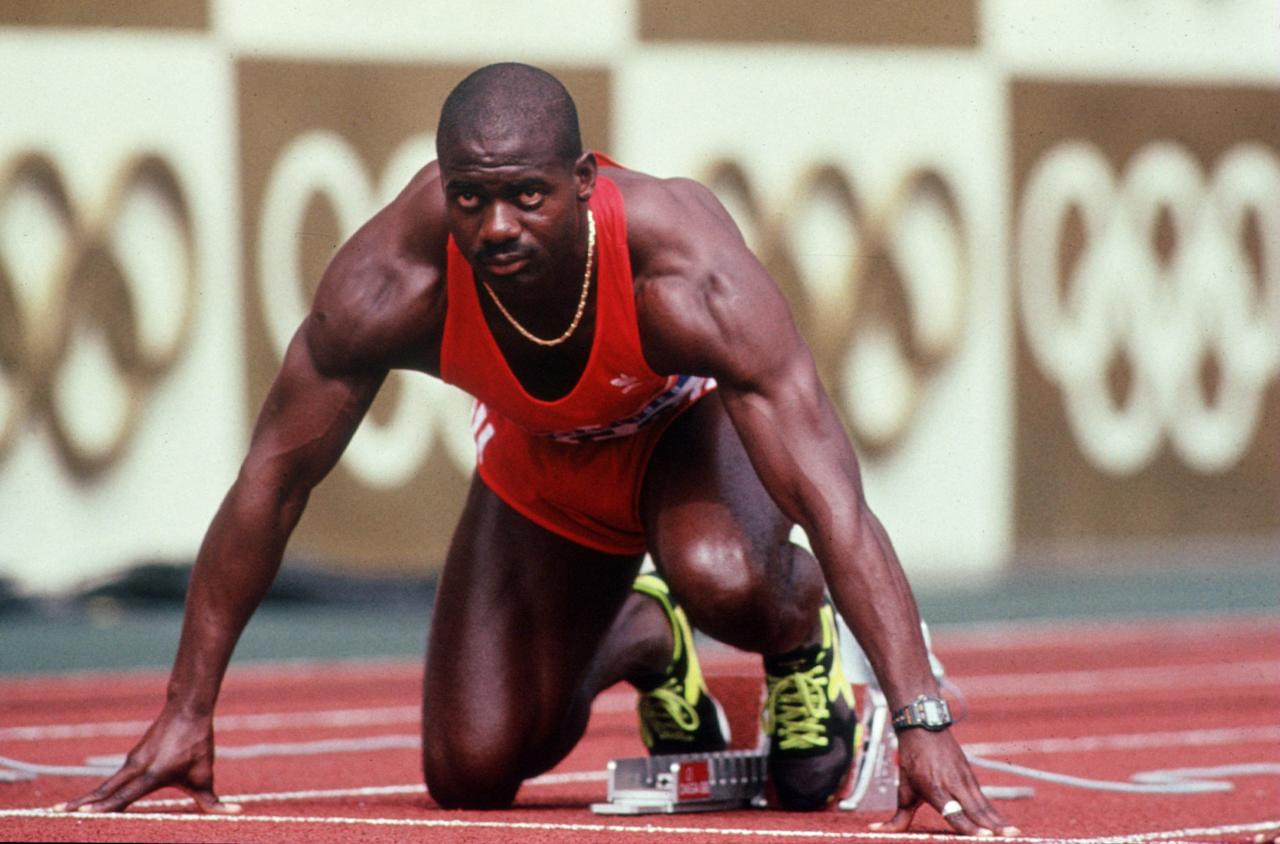 1988:  Ben Johnson of Canada is set in his block prior to the start of the men''s 100M Final at the 1988 Olympic Games in Seoul, Korea. Mandatory Credit: Tony Duffy/ALLSPORT