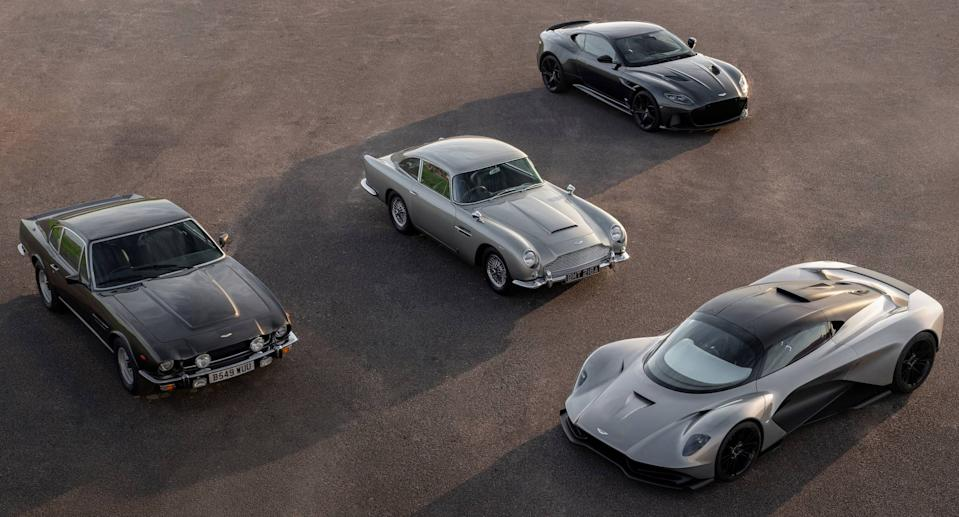 The four Aston Martin's set to appear in No Time To Die. (Aston Martin)