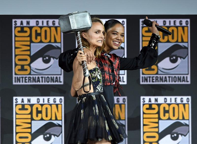 Natalie Portman and Tessa Thompson at Comic-Con