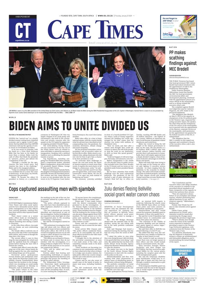 January 21, 2021 front page of the Cape Times
