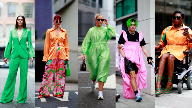 On the street at London Fashion Week Spring 2022. <p>Photos: Imaxtree</p>