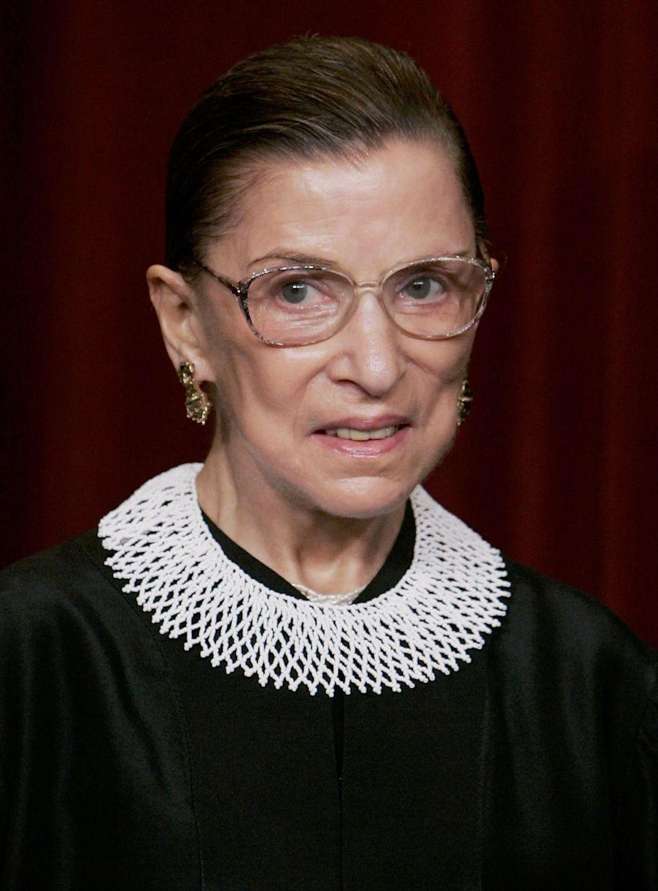<p>The woman was a legal legend, but her ability to accessorize should also be recognized. Layer an elaborate collar (a paper one is fine if you are in a pinch) over a black dress along with Ginsberg's signature specs and a pair of classic earrings.</p>
