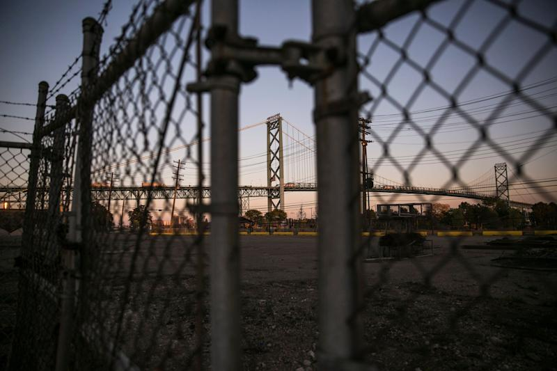 TheAmbassador Bridge, which connects Detroit, Michigan to Windsor, Ontario, Canada.