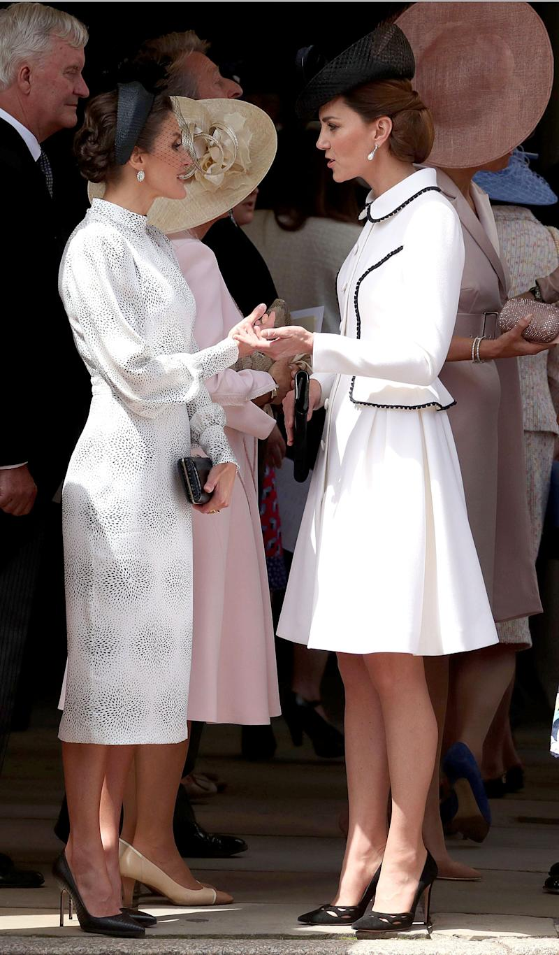 Queen Letizia of Spain and the Duchess of Cambridge at the Order of the Garter Service at St. George's Chapel. (Photo: WPA Pool via Getty Images)