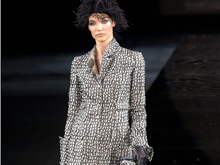 "A model wears an outfit by Giorgio Armani in 2004 in Milan, Italy. <p class=""copyright"">Getty Images</p>"