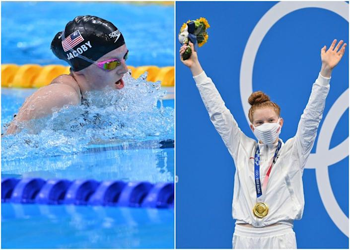 Lydia Jacoby is pictured swimming the 100 metre breaststroke in a pair of pink goggles and standing at the olympic podium after winning gold.