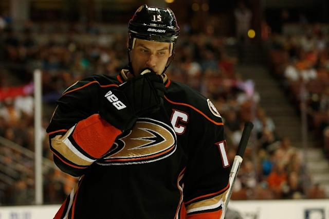 Anaheim Ducks captain Ryan Getzlaf during a game against the San Jose Sharks at Honda Center on October 3, 2015 (AFP Photo/Sean M. Haffey)