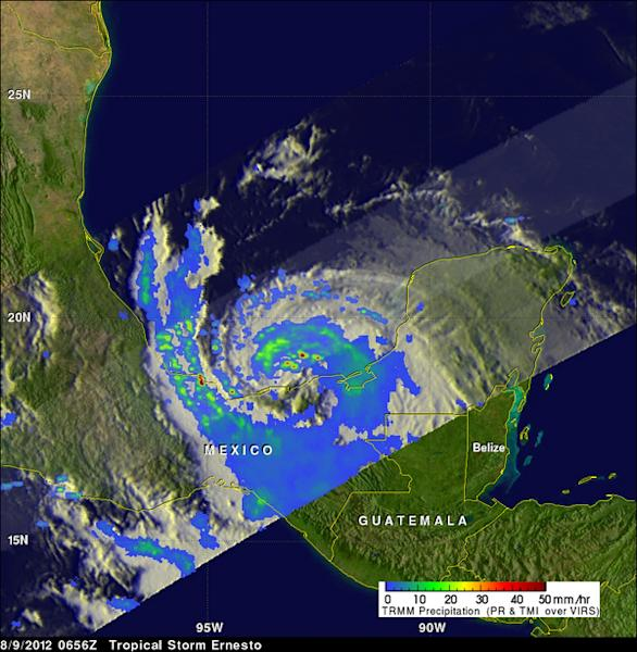 NASA's TRMM satellite saw tropical storm Ernesto on August 9, 2012 at 0656 UTC (2:36 a.m. EDT) after it moved from the Yucatan Peninsula into the Gulf of Mexico. Powerful convective thunderstorms were dropping rain at a rate greater than 50mm p