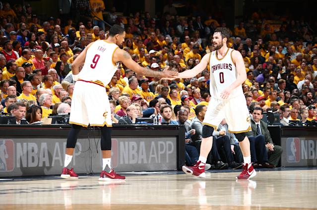 Channing Frye got the best welcome ever from former teammate Kevin Love. (Getty Images)